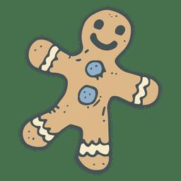 Icono de caricatura de pan de jengibre dibujado a mano 48