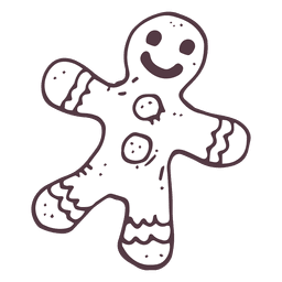 Gingerbread man hand drawn icon 56