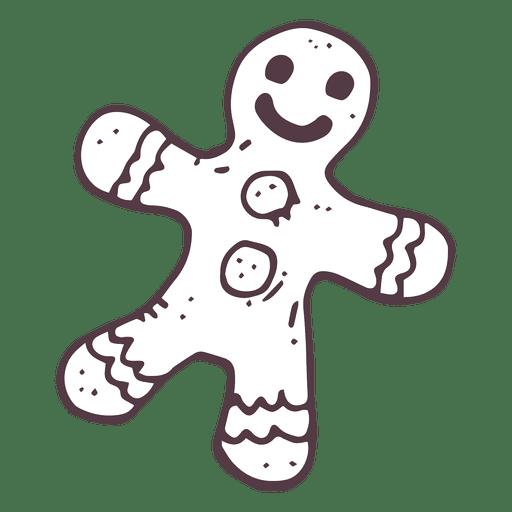 Gingerbread man hand drawn icon 56