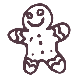 Gingerbread man hand drawn icon 9