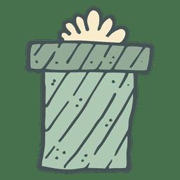 Caixa de presente verde arco amarelo mão desenhada ícone 55