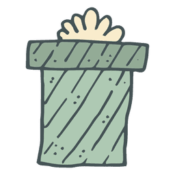 Caja de regalo verde arco amarillo dibujado a mano icono 55