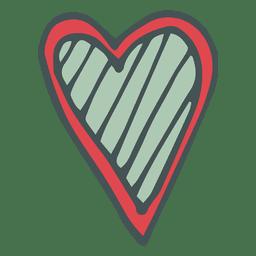 Green red hear hand drawn cartoon icon 56