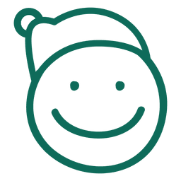 Sorriso Papai Noel chapéu rosto emoticon verde acidente vascular cerebral 5