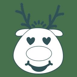 Heart eyes reindeer face green stroke emoticon 42