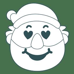 Heart eyes santa claus green stroke emoticon 26