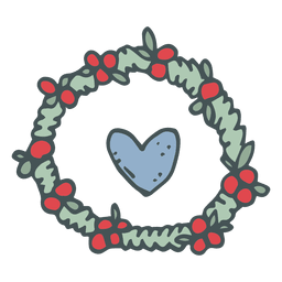Heart wreath hand drawn cartoon icon 32