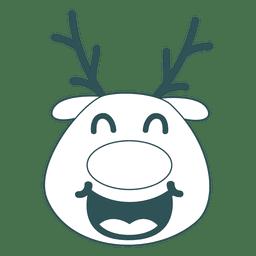 Laugh reindeer face green stroke emoticon 43