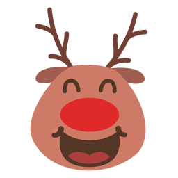 Laugh reindeer face emoticon 55