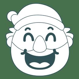 Laugh santa claus green stroke emoticon 39