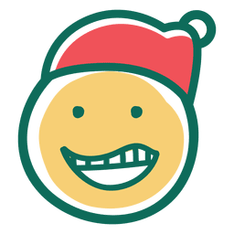Lachen Weihnachtsmann Hut Gesicht Emoticon 25