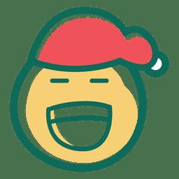 Lachen Weihnachtsmann Mütze Gesicht Emoticon 36