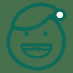 Laugh santa claus hat face green stroke emoticon 17