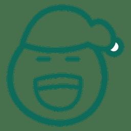 Laugh santa claus hat face green stroke emoticon 24
