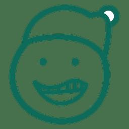 Laugh santa claus hat face green stroke emoticon 8