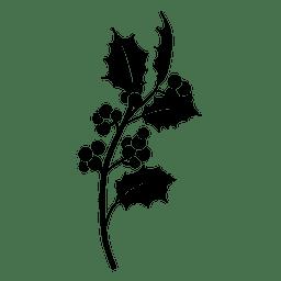 Icono de silueta de rama de muérdago 2