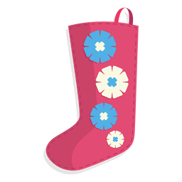 Pink flowers christmas stocking icon 24