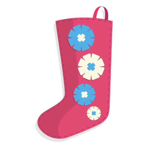 Pink flowers christmas stocking icon 24 Transparent PNG