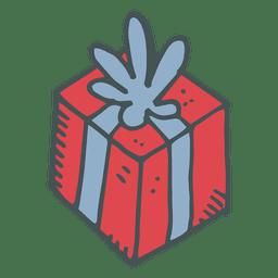 Caixa de presente vermelha azul arco mão desenhada cartoon ícone 25