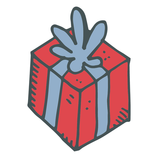 Red gift box blue bow hand drawn cartoon icon 25 Transparent PNG