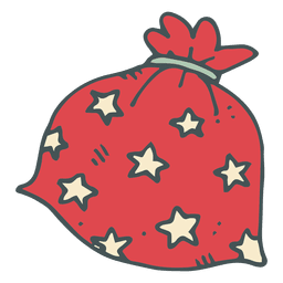 Red polka dot gift bag hand drawn cartoon icon 16