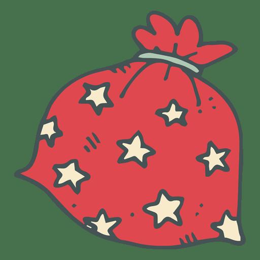 Bolsa de regalo de lunares rojos icono de dibujos animados dibujados a mano 16