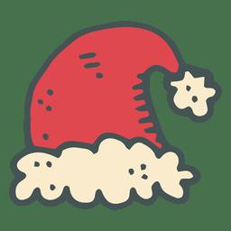 Red santa claus hat hand drawn cartoon icon 50