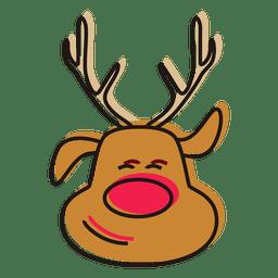 Vetor de desenho animado de cabeça de rena
