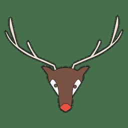 Dibujos animados de cabeza de reno geométrico