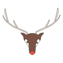 Geometrical Reindeer Head Cartoon