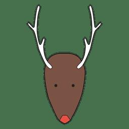Desenhos animados cabeça de rena minimalista