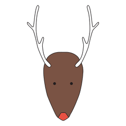 Minimalist Reindeer Head Cartoon