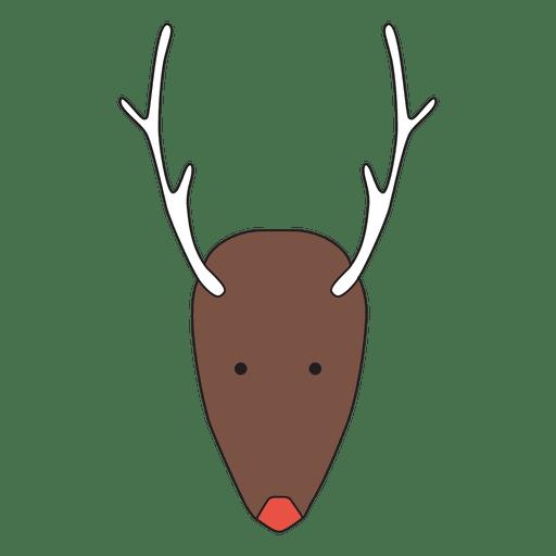 Dibujos animados de cabeza de reno minimalista