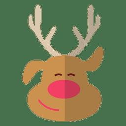 Ícone plana cabeça de rena 4