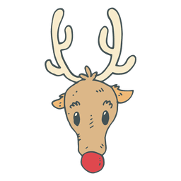 Reindeer head hand drawn cartoon icon 36