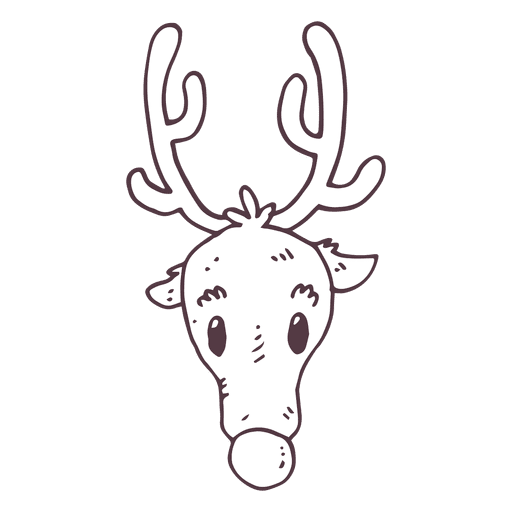 Icono dibujado mano cabeza de reno 45