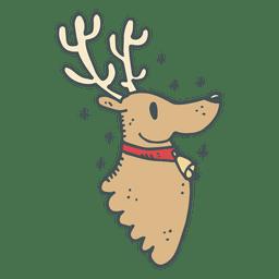 Icono de dibujos animados dibujados a mano de perfil de cabeza de reno 14