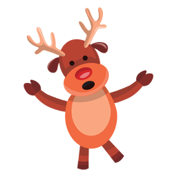 Reindeer cartoon arms spread talking 75