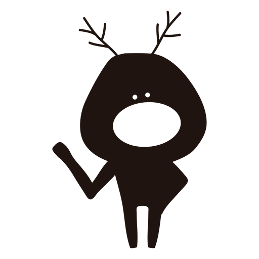 Reindeer cartoon silhouette waving hello 30 Transparent PNG