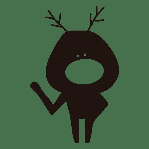 Reindeer cartoon silhouette waving hello 30