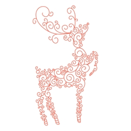 Reindeer silhouette red swirl pattern