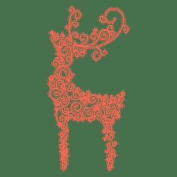 Reindeer silhouette red swirl pattern 40