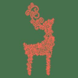 Reindeer silhouette red swirl pattern 42