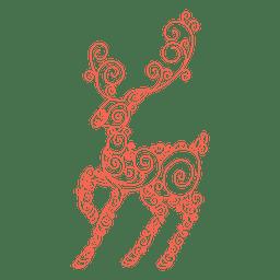 Reindeer silhouette red swirl pattern 84