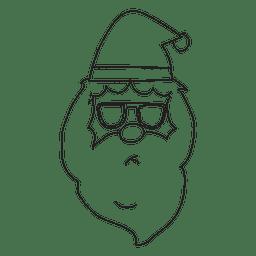 Santa claus head stroke hand drawn icon 2
