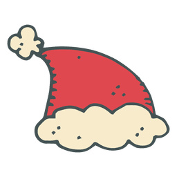 Sombrero de santa claus dibujado a mano icono de dibujos animados 1