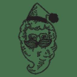 Santa claus head hand drawn icon 44