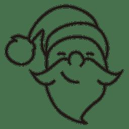 Icono de trazo de cabeza de Papá Noel 40