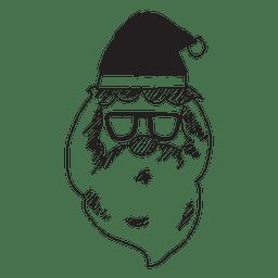 Santa claus cabeza gafas de sol mano icono dibujado 55