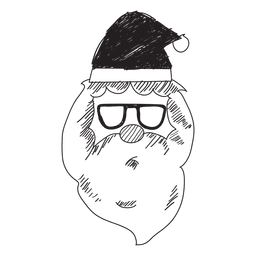 Santa claus head sunglasses hand drawn icon 55